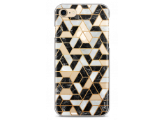 Coque iPhone 7/8 Black & Gray mosaic geometric marble