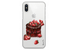 Coque iPhone X Chocolate and strawberries cake