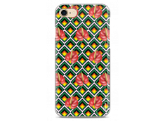 Coque iPhone 7/iPhone 8 Green geometric with red flowers