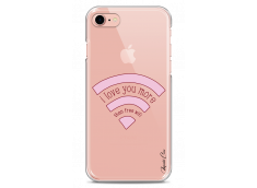 Coque iPhone 7/iPhone 8 Love You More Than Wifi- Rose