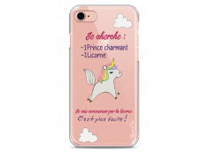 Coque iPhone 7Plus/8Plus Licorne cherche un prince charmant