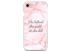 Coque iPhone 7/iPhone 8 Pink Message Marble