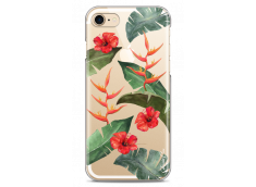 Coque iPhone 7Plus/8Plus Tropical watercolor design red flowers