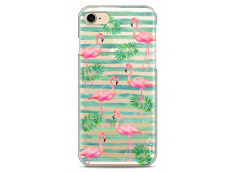 Coque iPhone 7Plus/8Plus Tropical watercolor striped flamingo