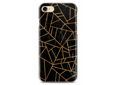 Coque iPhone 7/8 Black & Gold geometric triangle marble