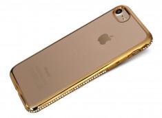 Coque iPhone 7 Gold Flex Strass