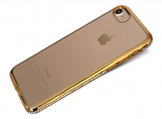 Coque iPhone 7 Plus Gold Flex Strass