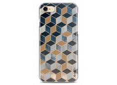 Coque iPhone 7/8 Blue & Brown Geometric Pattern
