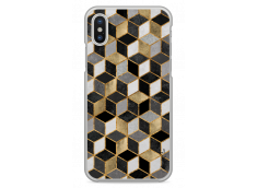 Coque iPhone X Cubic Gold & Black Geometric Pattern