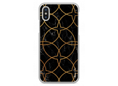 Coque iPhone X Black & Gold geometric marble