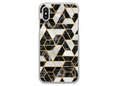 Coque iPhone X Black & Gray artistic geometric marble
