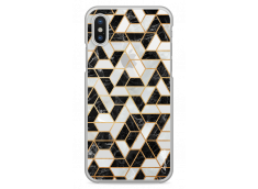 Coque iPhone X Black & Gray mosaic geometric marble