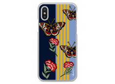 Coque iPhone X Butterflies and flowers on geometric forms