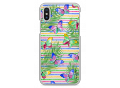 Coque iPhone X Multicolor watercolor butterflies