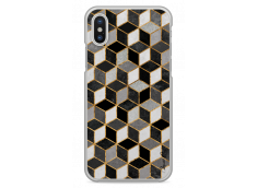 Coque iPhone X Cubic Black & Gray Geometric Pattern