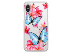Coque iPhone X Blue watercolor butterflies