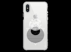 Coque iPhone X Silver Cercles Géométriques en marbre