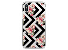 Coque iPhone XR Black geometric flowers