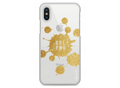 Coque iPhone X Gold Glitter - Girl Power