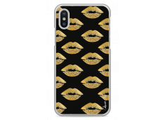 Coque iPhone X Gold Glitter Lips