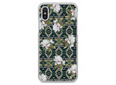 Coque iPhone X Green aztec with flowers