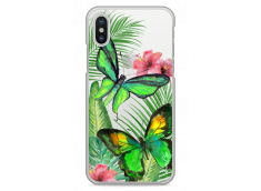 Coque iPhone X Green watercolor butterflies