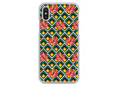 Coque iPhone X Green geometric with red flowers
