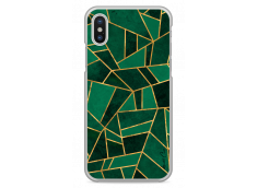 Coque iPhone X Green & Gold Geometric Pattern