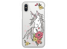 Coque iPhone X Licorne & Flowers design