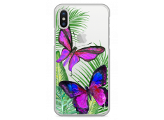 Coque iPhone X Fuchsia watercolor butterflies