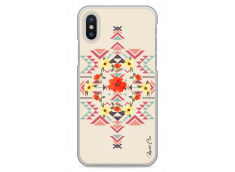 Coque iPhone X Red aztec with flowers