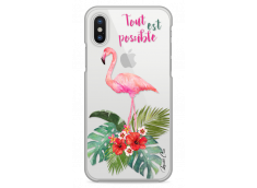 Coque iPhone X Tropical Watercolor Flamingo