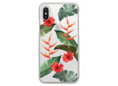 Coque iPhone X Tropical watercolor design red flowers