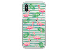 Coque iPhone X Tropical watercolor striped flamingo