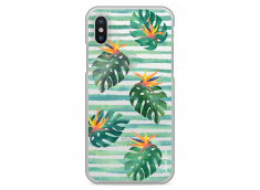 Coque iPhone X Tropical watercolor striped leaves
