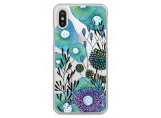 Coque iPhone X Water blue drawing flowers