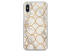 Coque iPhone X White & Gold geometric marble