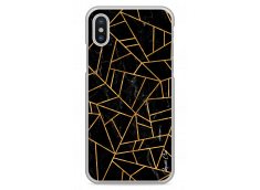 Coque iPhone X Black & Gold geometric triangle marble