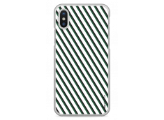 Coque iPhone X White & Green geometric forms