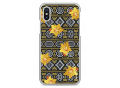 Coque iPhone X Yellow flowers with aztec pattern