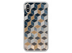 Coque iPhone X Blue & Brown Geometric Pattern