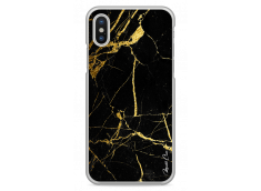 Coque iPhone X Gold and Black Marble