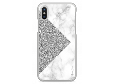Coque iPhone X Silver Glitter and Marble