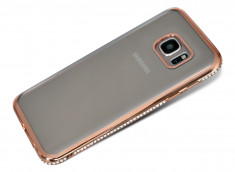 Coque Samsung Galaxy S7 Edge Rose Gold Flex Strass