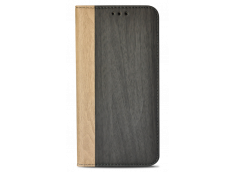 Etui iPhone X Flip Wood-Noir