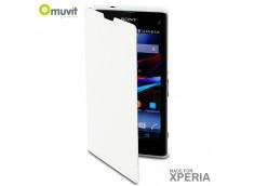 Etui Easy Folio Sony Xperia Z1 Compact by Muvit -Blanc
