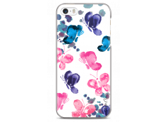 Coque iPhone 5C Paint pink & blue butterflies