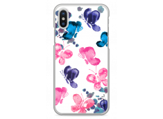 Coque iPhone X Paint pink & blue butterflies