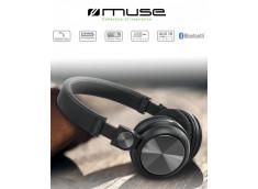 Casque MUSE Bluetooth entrée jack main libre avec cordon USB couleur noire