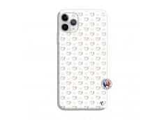 Coque iPhone 11 PRO MAX Little Hearts Silicone Blanc